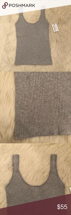 Frame women's T-shirt ribbed size medium gray New with tags  70 % Cotton 30% silk  So Soft on  Perfect as a layering peace Frame Denim Tops Tank Tops