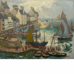 """""""Douarnenez, Brittany,"""" Richard Hayley Lever, Oil on canvas mounted on board, 16 x 20"""", private collection."""