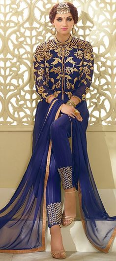 442454 Blue  color family Party Wear Salwar Kameez in Faux Georgette fabric with Machine Embroidery, Thread, Zari work .