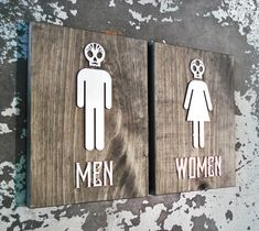 This listing is for a male and female sign with the optional directional restroom sign. Please choose your selection from the drop-down menu during checkout. The $99 option will give you a male & female set. The $159 option will give you all 3 signs.  The signs are cut from 1 thick White Pine backers with a dark charcoal stain applied. The figures are cut from acrylic that have a brushed metal finish. These are great for Mexican restaurants!  *Please see our shop for additional options…