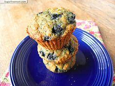 blueberry oatmeal muffins gluten and sugar free Gluten Free Sweets, Gluten Free Muffins, Sugar Free Desserts, Sugar Free Recipes, Gluten Free Baking, Healthy Baking, Gluten Free Recipes, Healthy Desserts, Sugar Free Blueberry Muffins