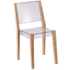 Fine Mod Imports Lhosta Dining Side Chair The Lhosta chair has a striking look with its natural wood frame and transparent seat and back. It is strong, Contemporary Dining Chairs, Modern Chairs, Modern Contemporary, Bar Furniture, Furniture Deals, Modern Furniture, Brown Furniture, Luxury Chairs, Dining Room Bar