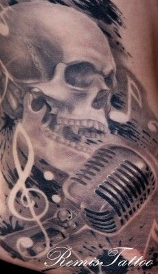 old school microphone and skull tattoo - Remis tattoo
