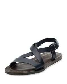 Nostro Crisscross-Strap Calfskin Sandal, Navy/Brown by Salvatore Ferragamo at Neiman Marcus. Blue Sandals, Brown Sandals, Blue Shoes, Leather Sandals, Men's Sandals, Sandals 2014, Men's Shoes, Italian Sandals, Navy And Brown