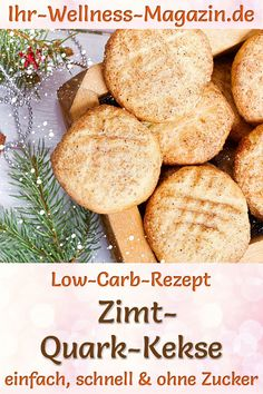 Low Carb Zimt-Quark-Kekse - Rezept für Weihnachtsgebäck ohne Zucker - Düşük karbonhidrat yemekleri - Las recetas más prácticas y fáciles Low Calorie Cookies, Keto Cookies, Cookies Et Biscuits, Quick Biscuits, Healthy Low Carb Recipes, Low Carb Desserts, Biscuits Halloween, Healthy Christmas Cookies, Low Carb