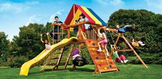 Rainbow Play Systems Castle outdoor swing sets have an open play design with anabundance of space. It's the perfect swing set for an uneven backyard. Outdoor Wooden Swing, Outdoor Swing Sets, Outdoor Games, Outdoor Play, Backyard Play, Backyard Ideas, Play Swing Set, Play Sets, Gardens
