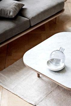 Bambus Holz Tisch 2er Set Kaffeetisch Bloomingville Beistelltisch weiß 3-beini