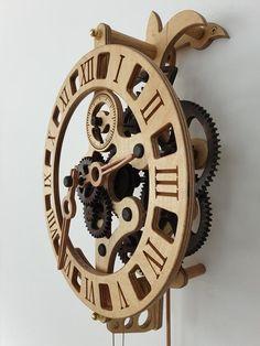 Wooden wall clock LILY kit | Etsy Wall Clock Target, Wall Clock Face, Wall Clock Glass, Wall Clock Kits, Wall Clock Design, Wooden Gear Clock, Wooden Gears, Wood Clocks, Wooden Phone Holder