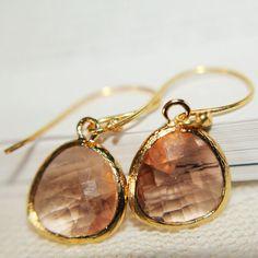 Peach Champagne Briolette Dangle Earrings by anatoliantaledesign, $21.00