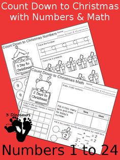 Free Count Down to Christmas with Numbers & Math - 24 pages each for two… Days To Christmas, Christmas Math, Preschool Christmas, Christmas Books, Christmas Countdown, Christmas Themes, Math Activities For Kids, Christmas Activities For Kids, Christmas Printables