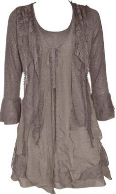 Pretty Angel Clothing Layered Vintage Blouse In Brown