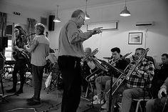 Roz Harding, Ian Wellens, Mike Westbrook, Ken Cassidy, Joe Carnell, Stewart Stunnell, Sam Massey (rehearsal) -  photo: Robert Burns