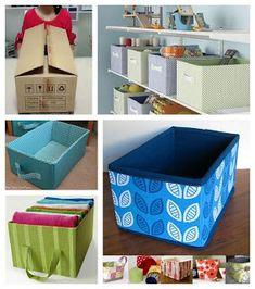 Haz útiles cajas organizadoras reciclando cartón y tela ~ Solountip.com Diy Cardboard Furniture, Cardboard Box Crafts, Diy Arts And Crafts, Diy Home Crafts, Carton Diy, Painted Baskets, Diy Storage Boxes, Diy Rangement, Diy Organisation