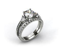 18k White Gold 3-Stone, Pave Diamond Engagement Ring