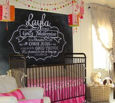 Chalkboard wall above the crib - this is so beautiful! #nursery