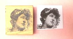 Wistful lady rubber stamp photo stamps vintage look wood mounted people woman…
