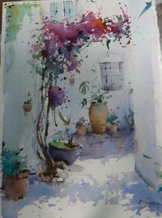 """Yuko Nagayama on Instagram: """"Anemone #anemone #yukonagaya Watercolor Architecture, Watercolor Landscape Paintings, Abstract Watercolor, Watercolour Painting, Watercolor Flowers, Watercolors, Watercolor Pictures, Indian Art Paintings, Canvas Art Prints"""