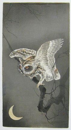 Owl and Moon - Ohara Koson