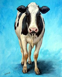 Cows Painting - Holstein Cow Standing On Turquoise by Dottie Dracos