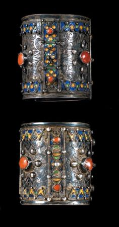 Algeria | Pair of 'amesluh' bracelets; silver, enamel and coral. | Beni Yenni, Great Kabylia | 800€ ~ sold (June '10)