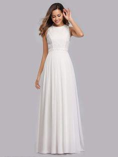 White Bridesmaid Dresses, White Wedding Dresses, Wedding Party Dresses, Wedding Bridesmaids, Prom Dresses, A Line Evening Dress, Evening Party Gowns, Chiffon Evening Dresses, Ever Pretty