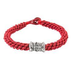 Zodiac Sagittarius Red Macrame Bracelet