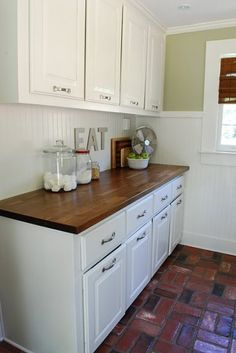 butcher block and white cabinets this is what I'm doing to my kitchen! :)