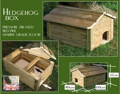 Hedgehog box: Pressure treated red pine, Removable roof, Marine grade ply floor, Two chambers, 20mm thick walls & roof. £59.00 | Granddad Rob Designs
