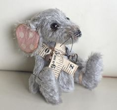 Skedaddle - little mohair sewing room mouse with tape measure and scissor accessories, by Ragtail n Tickle