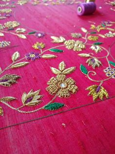 Details to design,hand embroidery ,bridal blouses Zardozi Embroidery, Kurti Embroidery Design, Embroidery Fashion, Couture Embroidery, New Embroidery Designs, Hand Work Embroidery, Beaded Embroidery, Embroidery Stitches, Kids Blouse Designs
