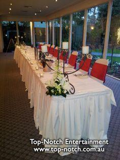 Wedding table place setting at Bram Leigh Receptions, Croydon, Victoria.  www.top-notch.com.au  www.facebook.com/WeddingDJTopNotch