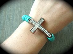 Yogi Bead Copper Sideways Cross On Turquoise Stretchy Bracelet