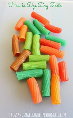 easy how to dye dry pasta for crafts and play activities.