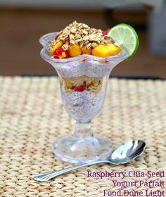 Healthy, low calorie and fat Breakfast - Raspberry Chia Seed Yogurt Parfait Food Done Light