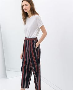 LOOSE FIT WIDE-STRIPED TROUSERS
