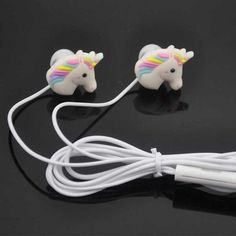 Cartoon Earphones Cute Horse In-ear Earphone Earbud With Mic Mini Earphone For Samung Iphone Smartphone Gift For Kid Child Real Unicorn, Magical Unicorn, Cute Unicorn, Rainbow Unicorn, Cute Headphones, Stereo Headphones, Unicorn Birthday, Unicorn Party, Emoji