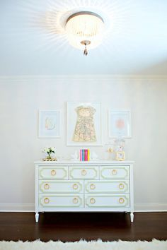 Melisa's dresser for her very own nursery. The brass pulls make it. And it's built to last a lifetime.