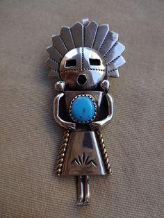 Lovely Vintage NAVAJO Sterling Silver & Turquoise KACHINA Pin/Pendant