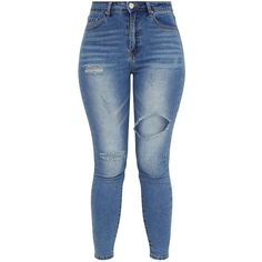 Mid Wash Open Thigh Skinny Jean ($38) ❤ liked on Polyvore featuring jeans, blue jeans, skinny fit denim jeans, skinny leg jeans, medium wash jeans and cut skinny jeans