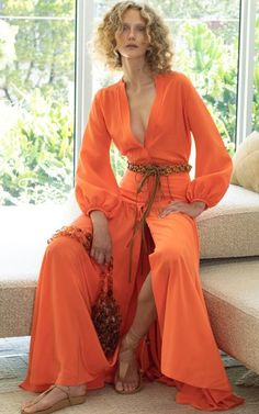 Silk Dress, Wrap Dress, Dress Up, Crop Top Set, Fashion Sewing, Orange, Daily Fashion, Stylish Outfits, Street Style