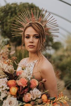 A beautiful bohemian styled shoot captured at the Urban Jungle Norfolk and featuring Rue De Seine wedding dresses. Photos by Megan Duffield Photography Wedding Headdress, Wedding Headband, Bridal Crown, Wedding Dresses Photos, Fashion Photography Inspiration, Festival Wedding, Poses, Bridal Shoot, Boho Bride
