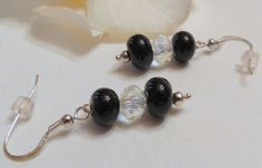 Dangle Earrings Black Lampwork Bead Sterling by Smokeylady54