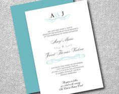 Printable DIY Wedding Invitation - Classic Elegance - Script, Monogram on Etsy, $20.00