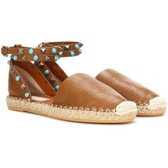 Valentino Rockstud Espadrille Sandals ($860) ❤ liked on Polyvore featuring shoes, sandals, brown, espadrilles, espadrille sandals, valentino shoes, espadrille shoes, brown sandals and valentino sandals