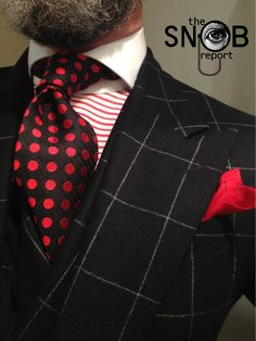 WIW black windowpane 3-piece suit by Oger, MTM horizontal stripe contrasting collar shirt Emanuel Berg fitted by Lowet Tailors, red polka dot tie Phineas Cole & pocket-square Ralph Lauren Purple Label