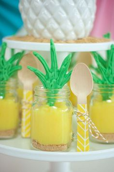 Pineapple Dessert Cups from a Let's Flamingle! Flamingo Birthday Bash via Kara's Party Ideas   KarasPartyIdeas.com   The Place for All Things Party! (35)