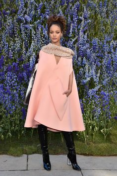 Rihanna's look for Dior's SS16 Paris Fashion Week show was sugary sweet.