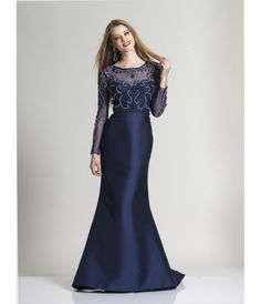 Please allow a 4 day handling time before this dress ships. Navy has never looked so elegant than in this modest long .....Price - $438.00-I6L92ZA4