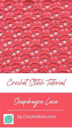 Snapdragon Lace CrochetKim Free Crochet Stitch Tutorial Best Picture For crochet amigurumi For Your Crochet Afghans, Crochet Blanket Patterns, Crochet Shawl, Stitch Patterns, Knit Lace, Crochet Granny, Knitting Patterns, Mandala Crochet, Diy Crochet Projects