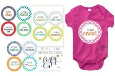 12 Baby Milestone Stickers – Adorable stickers to mark important milestones for little ones - these removable stickers can be used on any clothing for the perfect keepsake picture. Just peel and stick then smile and click! Done!